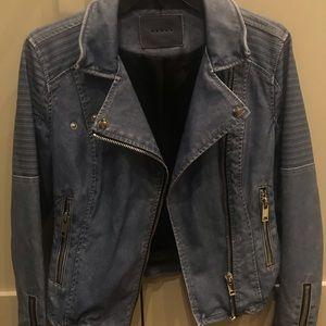 BLANK NYC blue faux leather moto jacket